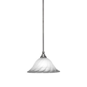 Any Brushed Nickel 12-Inch One-Light Pendant with White Alabaster Swirl Glass