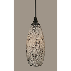 Any Matte Black 13-Inch One-Light Pendant with Tall Black Fusion Glass