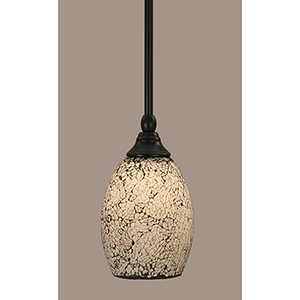 Any Matte Black Eight-Inch One-Light Mini Pendant with Short Black Fusion Glass