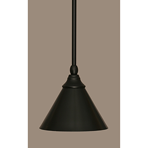 Any Matte Black Seven-Inch One-Light Mini Pendant with Matte Black Shade