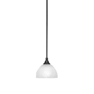 Any Matte Black Seven-Inch One-Light Mini Pendant with White Swirl Glass