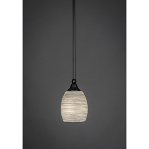 Any Matte Black Six-Inch One-Light Mini Pendant with Gray Linen Glass