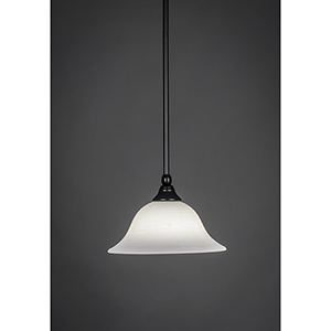Any Matte Black 10-Inch One-Light Pendant with White Linen Glass