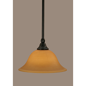Any Matte Black 10-Inch One-Light Pendant with Cayenne Linen Glass
