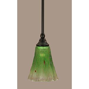 Any Matte Black Five-Inch One-Light Mini Pendant with Asymmetrical Kiwi Green Crystal Glass
