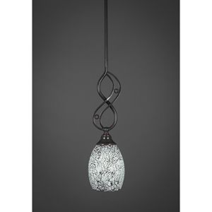 Jazz Black Copper 17-Inch One-Light Pendant with Round Black Fusion Glass