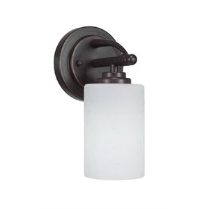 Marquise Dark Granite One-Light Wall Sconce with White Muslin Glass