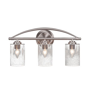 Marquise Brushed Nickel Three-Light Bath Vanity with Clear Bubble Glass