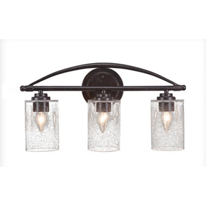 Marquise Dark Granite Three-Light Bath Vanity with Clear Bubble Glass