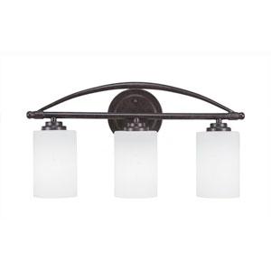 Marquise Dark Granite Three-Light Bath Vanity with White Muslin Glass