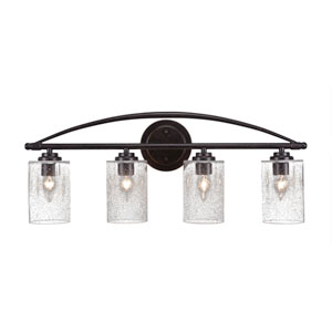 Marquise Dark Granite Four-Light Bath Vanity with Clear Bubble Glass