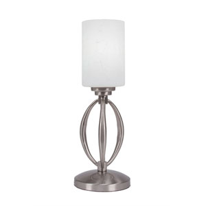 Marquise Brushed Nickel One-Light Table Lamp with White Muslin Glass