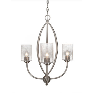 Marquise Brushed Nickel Three-Light Chandelier with Clear Bubble Glass
