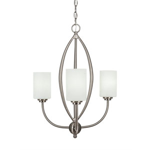 Marquise Brushed Nickel Three-Light Chandelier with White Muslin Glass