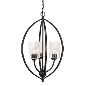 Marquise Dark Granite Three-Light Chandelier with Clear Bubble Glass
