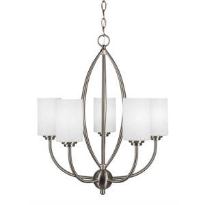 Marquise Brushed Nickel Five-Light Chandelier with White Muslin Glass