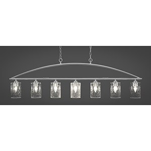 Marquise Brushed Nickel Four-Inch Seven-Light Island Pendant with Clear Bubble