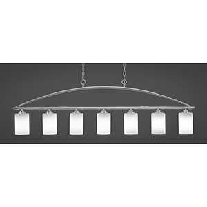 Marquise Brushed Nickel Four-Inch Seven-Light Island Pendant with White Muslin