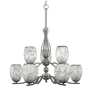 Revo Aged Silver 16-Inch Nine-Light Chandelier with Black Fusion Glass
