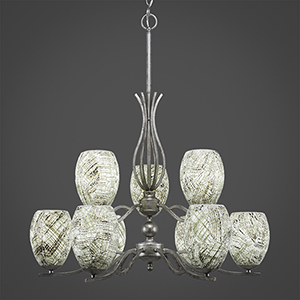 Revo Aged Silver 16-Inch Nine-Light Chandelier with Natural Fusion Glass