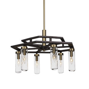 Salinda Espresso and Brass Six-Light Chandelier with Clear Bubble Glass