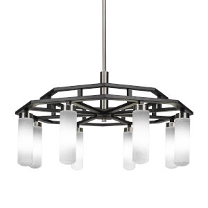 Salinda Matte Black and Brushed Nickel Eight-Light Chandelier with White Muslin Glass