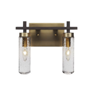 Salinda Espresso and Brass Two-Light Bath Vanity with Clear Bubble Glass