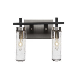 Salinda Matte Black and Brushed Nickel Two-Light Bath Vanity with Clear Bubble Glass