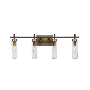 Salinda Espresso and Brass Four-Light Bath Vanity with Clear Bubble Glass