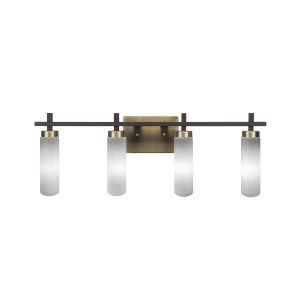 Salinda Espresso and Brass Four-Light Bath Vanity with White Muslin Glass