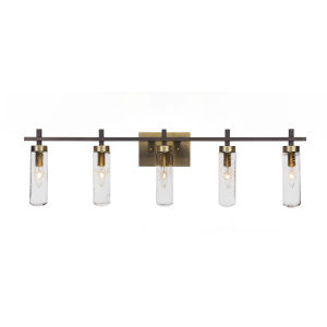 Salinda Espresso and Brass Five-Light Bath Vanity with Clear Bubble Glass
