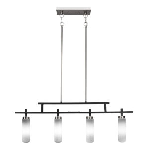 Salinda Matte Black and Brushed Nickel Four-Light Island Chandelier with White Muslin Glass