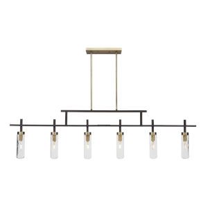 Salinda Espresso and Brass Six-Light Island Chandelier with Clear Bubble Glass