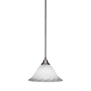Any Brushed Nickel 14-Inch One-Light Pendant with White Alabaster Swirl Glass