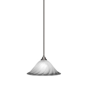 Any Brushed Nickel 20-Inch One-Light Pendant with White Alabaster Swirl Glass