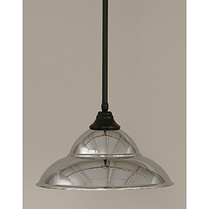 Any Matte Black 16-Inch One-Light Pendant with Chrome Double Bubble Metal Shade