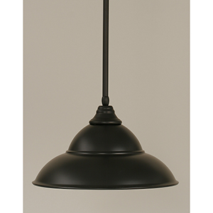 Any Matte Black 16-Inch One-Light Pendant with Matte Black Double Bubble Metal Shade