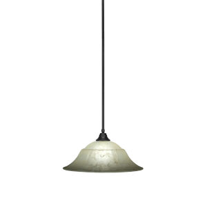 Any Matte Black 20-Inch One-Light Pendant with Amber Marble Glass