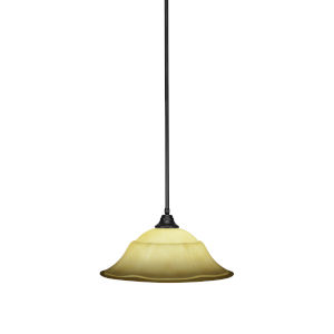 Any Matte Black 20-Inch One-Light Pendant with French Marble Glass