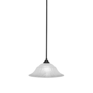 Any Matte Black 20-Inch One-Light Pendant with White Marble Glass
