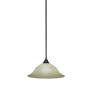 Any Matte Black 20-Inch One-Light Pendant with Italian Marble Glass