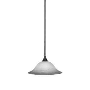 Any Matte Black 20-Inch One-Light Pendant with White Alabaster Glass