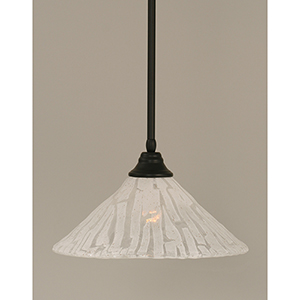 Any Matte Black 16-Inch One-Light Pendant with Italian Ice Glass