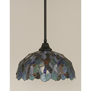 Any Matte Black 16-Inch One-Light Pendant with Blue Mosaic Tiffany Glass