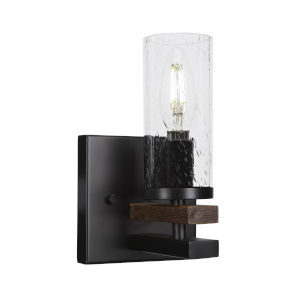 Belmont Matte Black and Wood Grain One-Light Wall Sconce