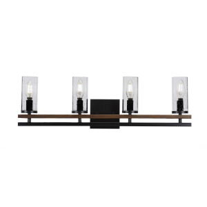 Belmont Matte Black and Wood Grain Four-Light 26-Inch Bath Vanity with Clear Bubble Glass