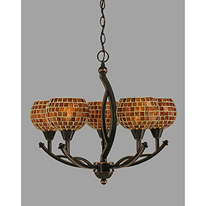 Bow Black Copper 22-Inch Five-Light Chandelier with Copper Mosaic