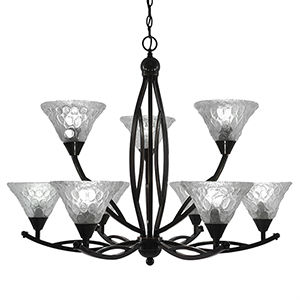 Bow Black Copper 33-Inch Nine-Light Chandelier with Italian Bubble Glass