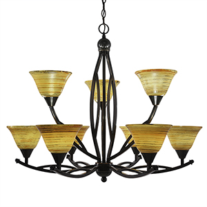 Bow Black Copper 33-Inch Nine-Light Chandelier with Firré Saturn Glass