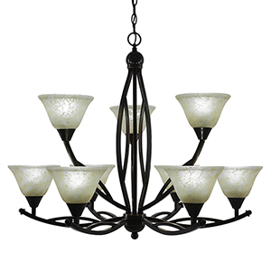Bow Black Copper 33-Inch Nine-Light Chandelier with Amber Marble Glass